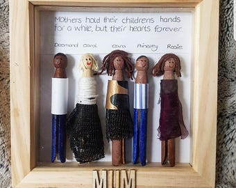 Personalized wooden peg family