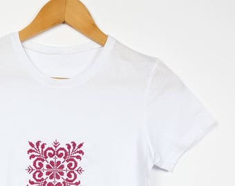"Embroidered Ethnic T-shirt Traditional Pattern ""Gherghina"""