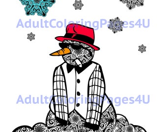The Snowman Adult Coloring Page | AdultColoringPages4U