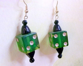 Artisan Dice Earrings - Green Lucite Dice - Vintage Black Glass Beads - Upcycled - Game Piece Collection