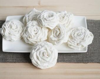 Linen burlap flowers, rustic flowers for wedding table, burlap flowers DIY, flowers for cakes, wedding flowers, rustic linen weddings