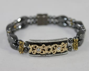 Gold & Black Filigree Ornate Bar High Quality Magnetic Bracelet