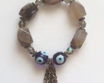 Evil eye handmade bracelet with semiprecious stones