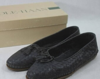 Vintage Cole Haan Black Leather Woven Flats Size 9.5