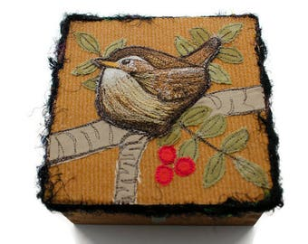 Jenny Wren Embroidered Trinket Box