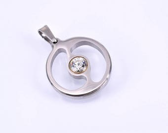 Pendant with cubic zirconia stainless steel elegant timeless classic for every day