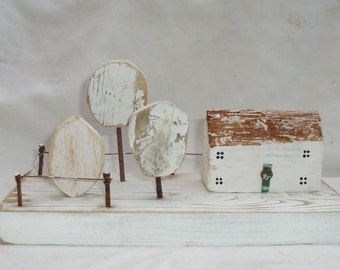 Driftwood,Cottage Christmas House,Snow Tree.Hand painted..FLOTSAM SOUP STUDIO