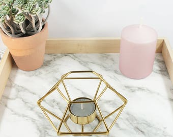 Gold metal design candle holder for tea light candle