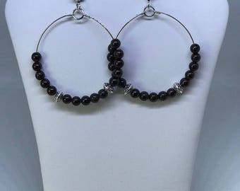 Hoop Garnet Beads Earrings