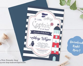 Nautical Baby Shower Invite, Navy Blue Baby Shower Invitation, Baby Shower Template Instant Download, Little Captain Baby Shower Invitation