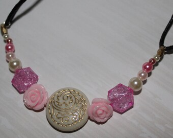 Handmade Baby Pink Rose & Gem Beaded Necklace