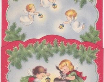 1950s Treasure Masters pocket card with angels at manger design