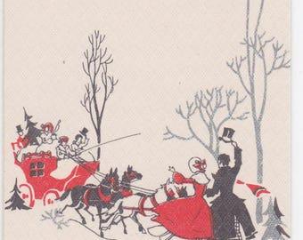 """1930s Art Deco Christmas card -- """"For a Jolly Christmas"""""""