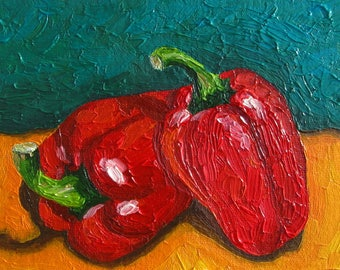 Oil painting Peppers Kitchen vegetables Still life Impressionism