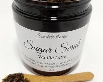 8 oz Vanilla Latte Sugar Scrub, Organic Coffee Scrub, Organic Sugar Scrub, Sugar Scrub, Sugar Coffee Scrub, Coffee Lovers Gift.
