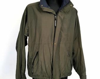 TENSON Men's L Bomber Jacket Khaki Green Retro Windproof Weatherproof Breathable
