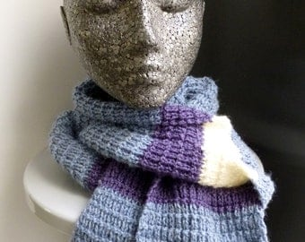 Hand knitted blue wool scarf with buttons