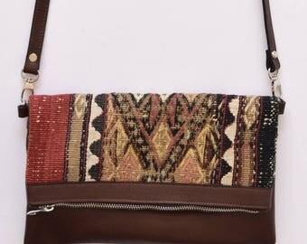 Clutch Bag-020 Handbag Vintage Kilim Rug Genuine Leather Bohemian Bag Boho Bag Hippie Bag
