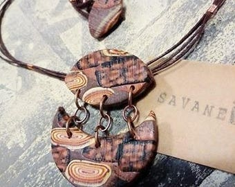 Pendant, necklace, fimo, polymer clay, ethnic africa,