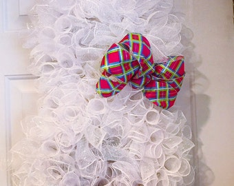 Easter Peter cotton tail mesh wreath