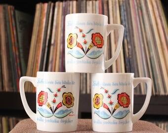 3 vintage Berggren coffee cups . Scandinavian flower mugs, Swedish folk art kitchen decor