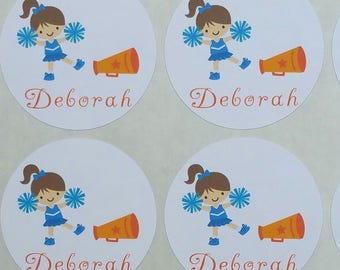 Personalized Cheerleader Stickers for Back to School, Name labels, cards, etc set of 20 up to 4 names