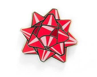 Red Bow enamel lapel pin