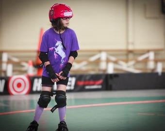 Kid Shirts: Roller Skating Unicorn, Roller Derby Shirt for Kids, Purple Unicorn Shirt, Kids Youth Boy or Girl Shirt