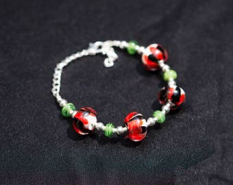 Everyday Bracelet, Floral Bead, Flower Bracelet, Floral Bracelet, Simple Bracelet, Mother's Day Gift, Sister Gift, Red Gift For Her, Jewelry
