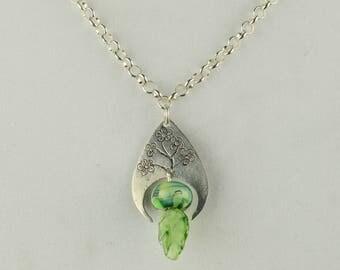 Etched  Sterling silver Floral Motif Necklace