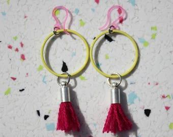 Geometrical Earrings, Gift For Her, Boho Jewelry, Minimalist Earrings, Girlfriend Gift, Summer Jewelry, Tassel earrings, Hoop Earrings