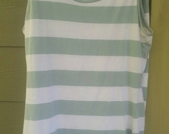 Vtg 80s Laura Ashley Gray Green and White Rugby Striped Long Tank Top and Skirt Set Size Small