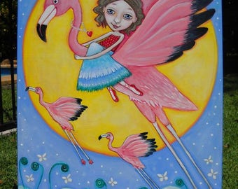 Flying Flamingos Original Acrylic Painting Flamingo Art by Lindy Longhurst Girl Flying Flamingo Affirmation Card Painting Gift for Friend