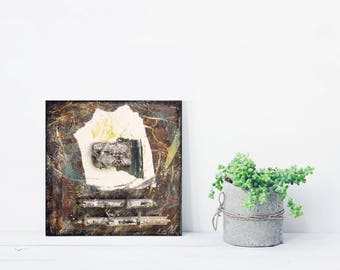 Original Abstract Art, Assemblage Art, BIOME 02, Mixed Media Wall Sculpture, Beach House Art, Textural Painting, Organic, Industrial, Rustic