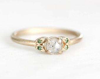 14k quintet rose cut diamond ring, rosecut diamond, green diamond, gray diamond, eco friendly