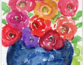 Original ACEO ranunculus flowers Watercolor Painting, flowers ART