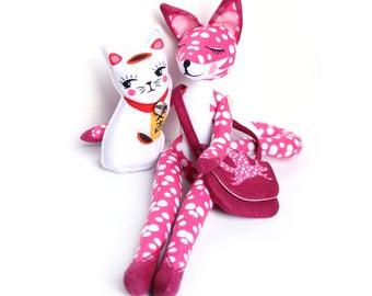 Fox and Lucky cat SPECIAL edition PINK polka DOT - with storybook - plush doll maneki neko fox