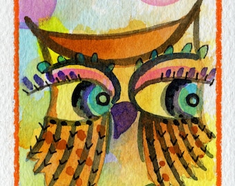 Lash Out Monday ACEO original painting small art watercolor owl