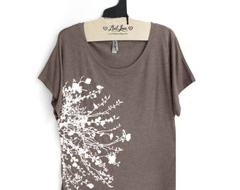 XL-  Tri-Blend Tan Dolman Top with Flower Branch Screen Print