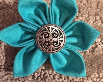 Turquoise Blue Silver Metal Button Fabric Flower Brooch Pin