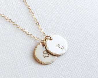 Mom Initial Necklace, Gift For Mom, Children's Initials, Two Children, Personalized Gold Initial Necklace, Lowercase Letter, Typewriter font