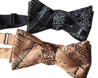 Boston Map Print Bow Tie. Vintage 1814 City of Boston Map Print. Silkscreened self tie bow tie. Choose black, pale copper & more!
