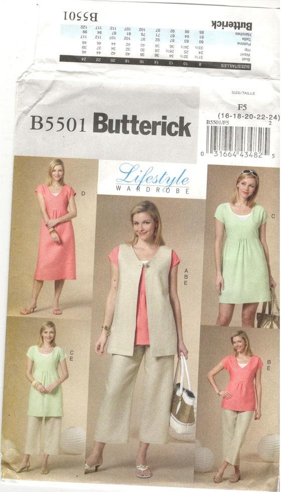 Butterick 5501 Size 16 18 20 22 24 Womens Plus Size Pattern