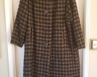 Vintage Black and Brown Plaid Wool Coat - Women's