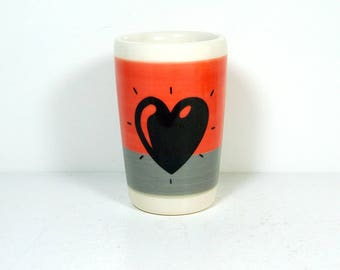 itty bitty cylinder / vase / cup with a Heart Throb print on a color block of Red-Orange & Storm Grey Gray READY TO SHIP