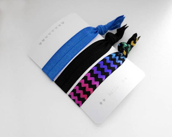 Set of 3 hair ties - elastics - no crease - stretch bracelets - chevrons rainbows - black - blue - party favor - gift - Christmas - dK17