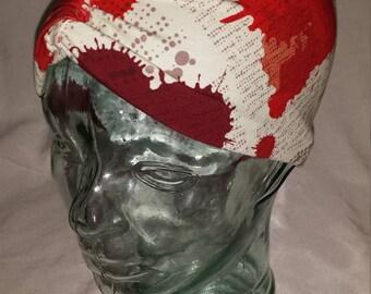 Bloody Splatter Hearts Custom Print Cotton/Lycra Stretch Knit Scrunchy Wide Headband