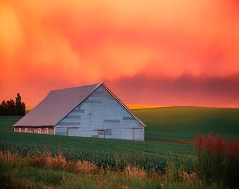 Palouse Photography, A Barn on a Stormy Evening, Washington, Rural Landscape, Agriculture, Storm photos, Weather, Nature, Palouse Fine Art