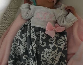 Newborn girl coming home outfit, newborn layette gown, newborn pictures, newborn girl take me home outfit, beanie, monogrammed newborn set
