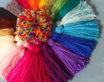 """5"""" Tassels - Large Fluffy Acrylic Yarn Tassels, Available In 26 Colors - Big Handmade Rainbow - Party Decorations, Birthday Party, Wedding"""